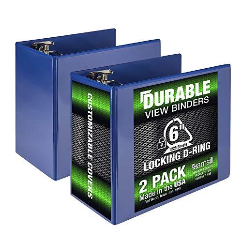 Samsill Durable 6 Inch Binder Blue D Ring Binder/Customizable Clear View Binder/Bulk Binder 2 Pack/Blue 3 Ring Binder 6 inch (MP2X6422)