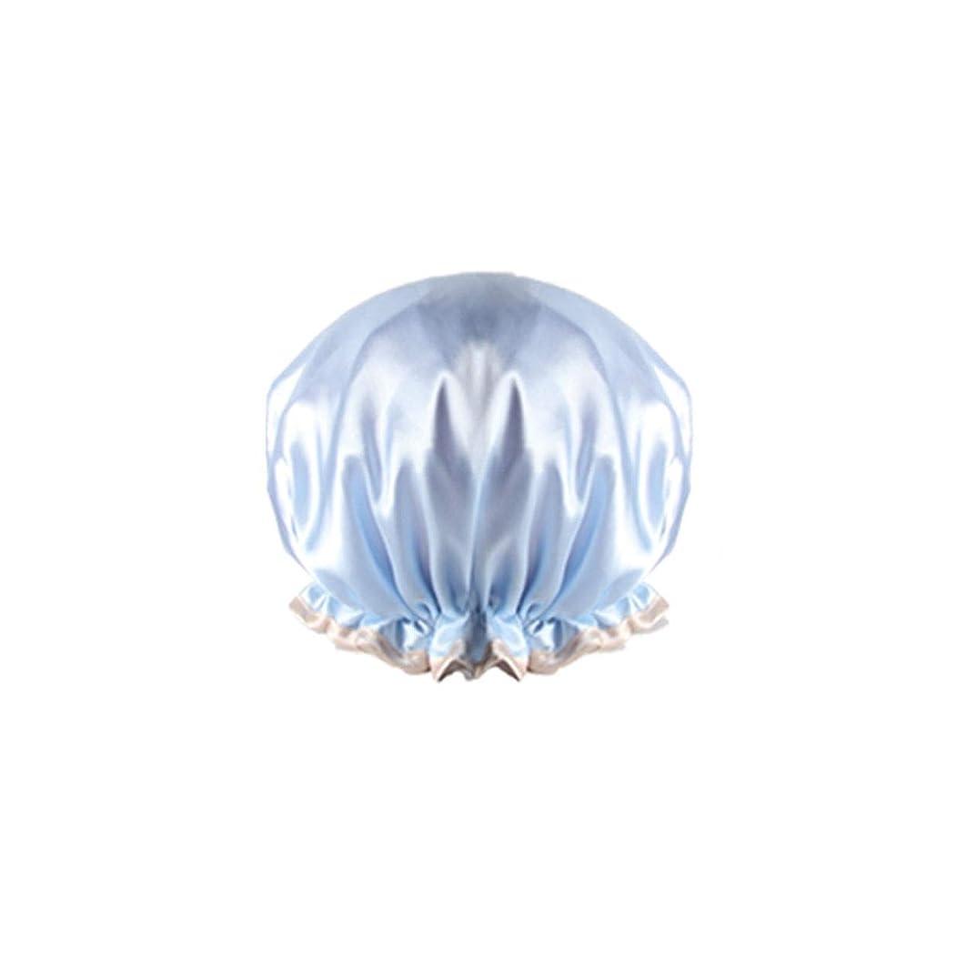 リーダーシップ絶望的な階下XIONGHAIZI シャワーキャップ、防水成人女性用シャワーキャップ、入浴用キッチンフード、シャワーキャップ、ヘアスタイリングキャップ、防フードキャップ、ピンク、ブルー、シャンパン、パープル (Color : Blue)