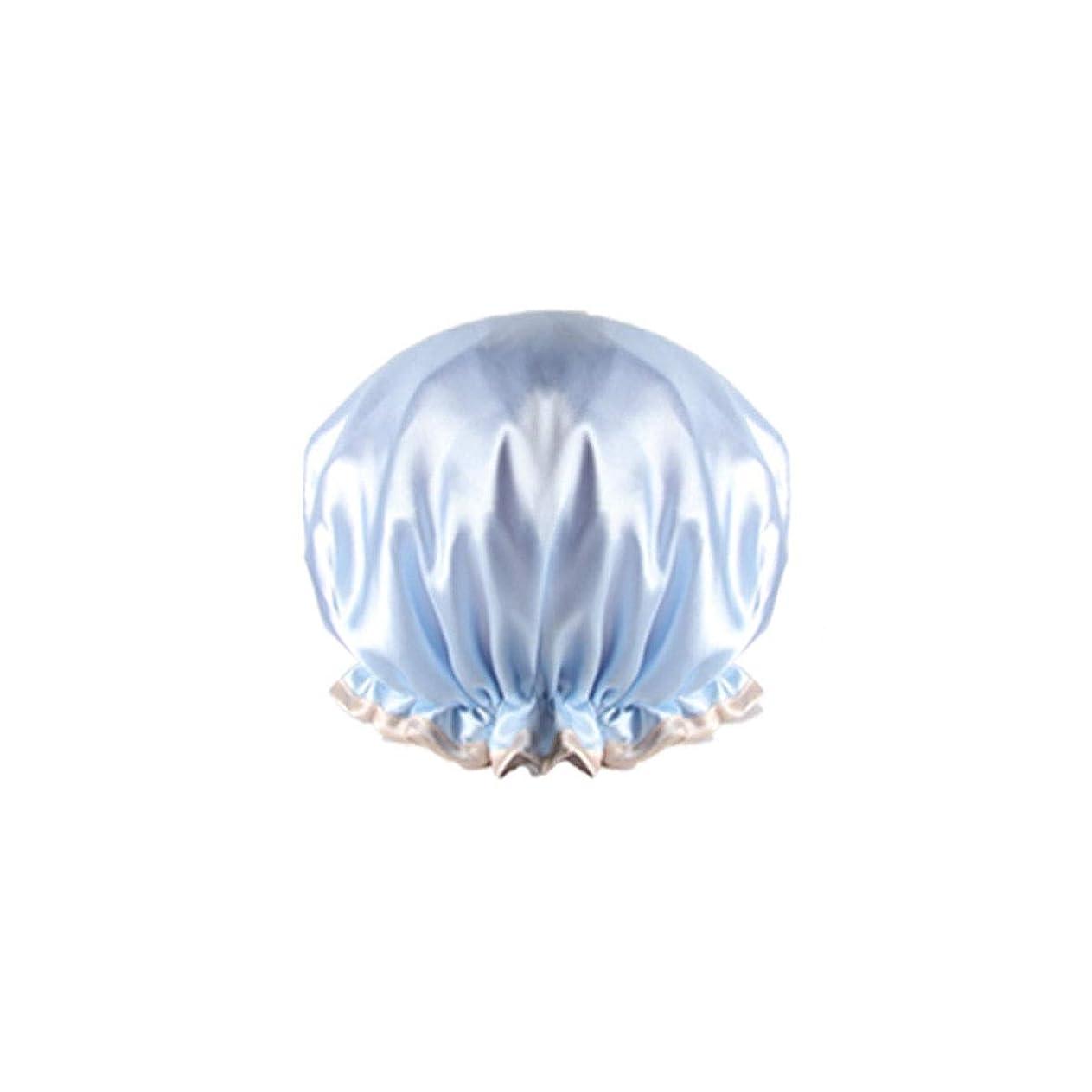 初心者リクルート急襲XIONGHAIZI シャワーキャップ、防水成人女性用シャワーキャップ、入浴用キッチンフード、シャワーキャップ、ヘアスタイリングキャップ、防フードキャップ、ピンク、ブルー、シャンパン、パープル (Color : Blue)