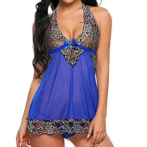 Hansee Dessous für Frauen, Frauen Sexy Blumen Spitze Nachtwäsche Unterwäsche Nachtwäsche Babydoll Kleid (S, Blau)