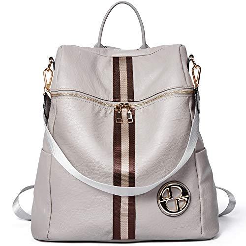 Backpack for Women Fashion Leather Large Travel Designer Ladies Shoulder Bags Grey