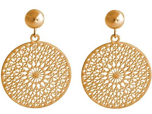 Gemshine Damen Ohrringe Yoga Mandala Kreis rund 2,5 cm in Silber, hochwertig vergoldet oder rose Ohrhänger - Nachhaltiger, qualitätsvoller Schmuck Made in Spain, Metall Farbe:Silber vergoldet