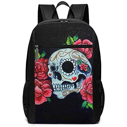 Yuanmeiju Colorful Skull and Roses Pictures Unisex Custom Bolsas de Hombro,Adult Student Double Zipper Closure Bolso de Escuela Informal