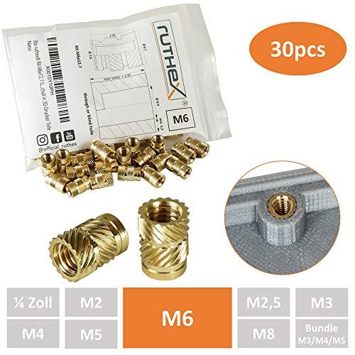 ruthex Gewindeeinsatz M6 (30 Stück) | RX-M6x12.7 Messing Gewindebuchsen | Einpressmutter für Kunststoffteile | durch Wärme oder Ultraschall in 3D-Drucker Teile