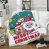 LIFUQING DIY Gedruckt Frohe Weihnachten Decke 3D Print Erwachsene Kinder Wolle Fleece Tragbare Decke Flanell Weihnachten Bademantel-120x150cm