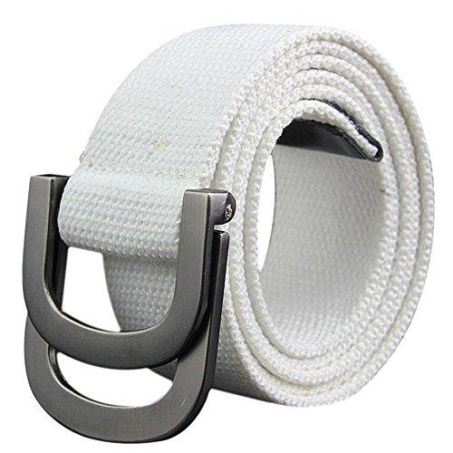 DaoRier Unisex Gürtel Freizeitgürtel aus Leinwand mit Doppelter Ring Metall Schnalle (Weiß)