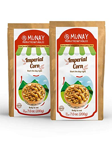 Munay Productos Naturales Peruvian Imperial Corn Nuts Snacks 14 Oz ( 400 g ) in a two (7 oz) resealable stand-up Paper Bags (Pack of 1)