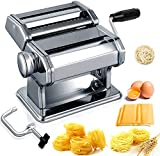 Acymztu Pasta Maker Machine Hand Crank - Roller Cutter Noodle Makers Best for Homemade Noodles Spaghetti Fresh Dough Making Tools Rolling Press Kit - Stainless Steel Kitchen Accessories