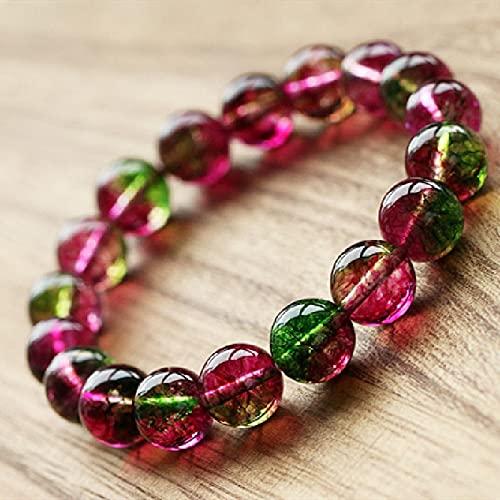PPuujia Pulsera de cristal genuina sandía turmalina palomitas de maíz pulsera de cristal Bohemia Lady Jewelry (color de la gema: 8 mm)
