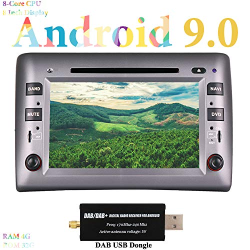XISEDO 8 Pulgadas Android 9.0 Autoradio 8-Core Car Radio RAM 4G ROM 32G In Dash Radio de Coche para Fiat Stilo (2002-2010) (con Dab dongle)