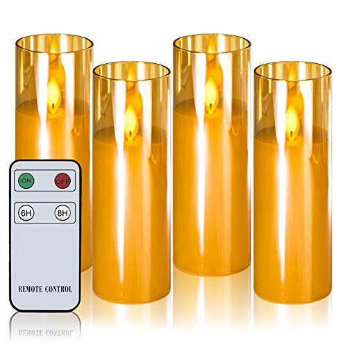 Flameless Candles Moving Flame Led Glass Candles with Remote H6' xD2' Set of 4 Real Wax Battery Operated Decorative Candles with Timer Amber