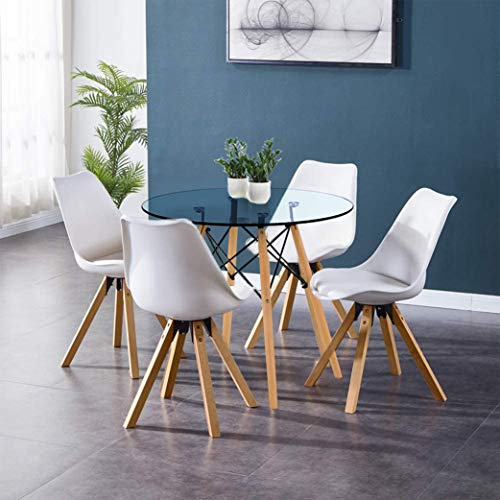 GOLDFAN Wood Dining Table and Chairs Set 4 Modern Round Glass Kitchen Table and White PU Leather Soft Chairs