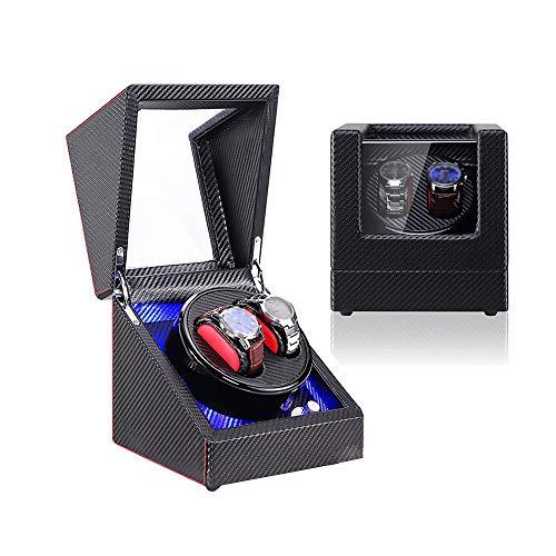Jlxl Caja de doble reloj enrollable, para relojes automáticos, luz LED azul, fibra de carbono de piel sintética, accesorios de motor extremadamente silenciosos