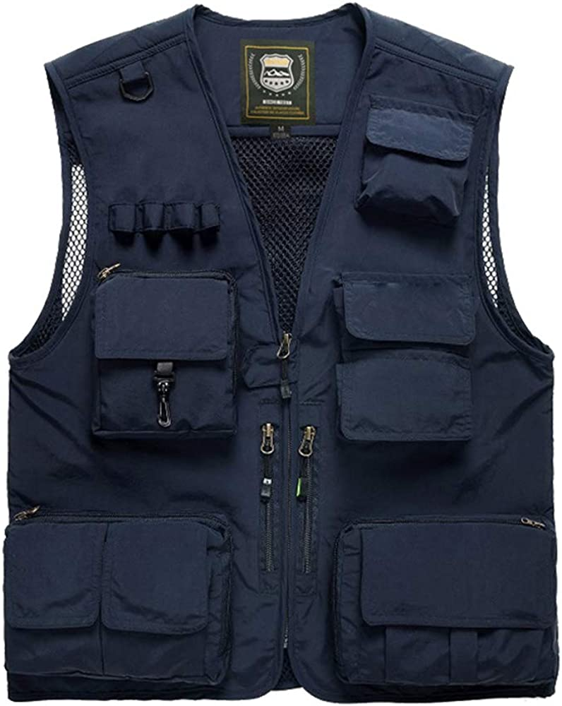 D C.Supernice Mens Multi-Pocketed Utility Vest Outdoor Casual Fishing Waistcoats Photography Jacket N7898