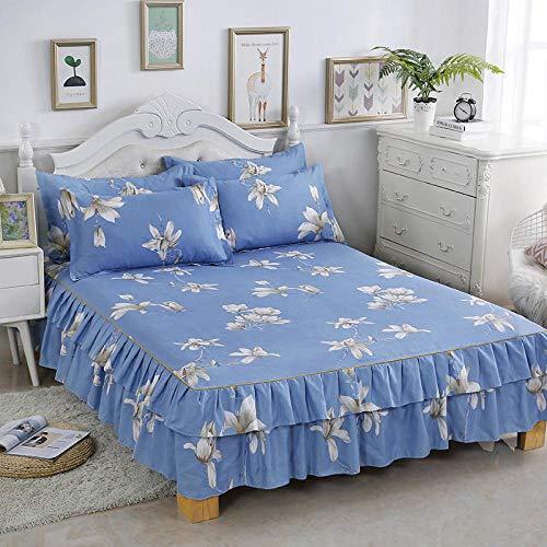 HNLHLY Katoen antislip dubbel bed rok bedovertrek + twee polyester kussenslopen, enkele Simmons rok beschermen dubbel bed