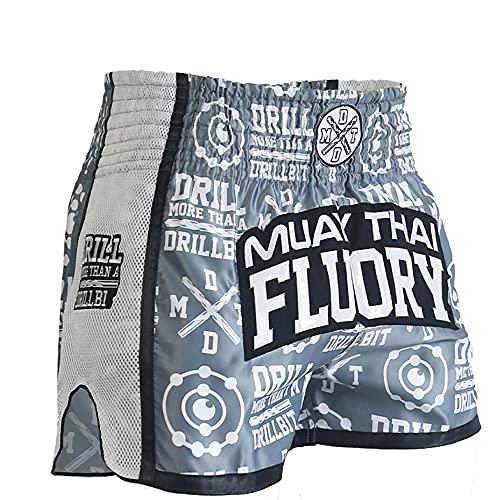 LGQ MMA Shorts für Männer und Frauen, Muay Thai Shorts Trainingsbekleidung, Sanda Fighting Boxing Shorts,Grau,L