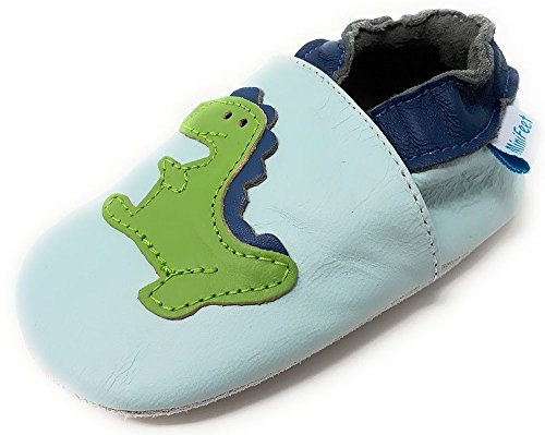 MiniFeet Premium Soft Leather Baby Shoes, Pram Shoes, Toddler Shoes, Blue Dinosaur 6-12 Months