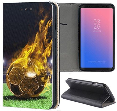 KX-Mobile Samsung Galaxy Xcover 3 Hülle - Handyhülle für Samsung Galaxy Xcover 3 - Handycover aus Kunstleder Motiv 1170 Fussball Fußball Schwarz Gelb Feuer Schutzhülle Smart Klapphülle Hülle
