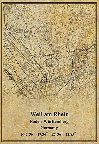 Impression sur toile - Carte de lAllemagne Weil am Rhein Baden-Württemberg - Style vintage - Sans cadre - 50,8 x 76,2 cm