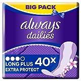 Always Dailies Extra Protect Long Plus Fresh Slipeinlagen Big Pack (40 Stück) geruchsneutralisierende Technologie & atmungsaktives Design mit Auslaufschutz für zusätzlichen Schutz mit dezentem Duft