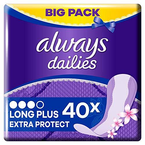 Always Dailies Slipeinlagen Damen Extra Protect Long Plus Fresh (40 Einlagen) Big Pack, Mit Dezentem Duft, Atmungsaktiv, Flexibel Und Bequem