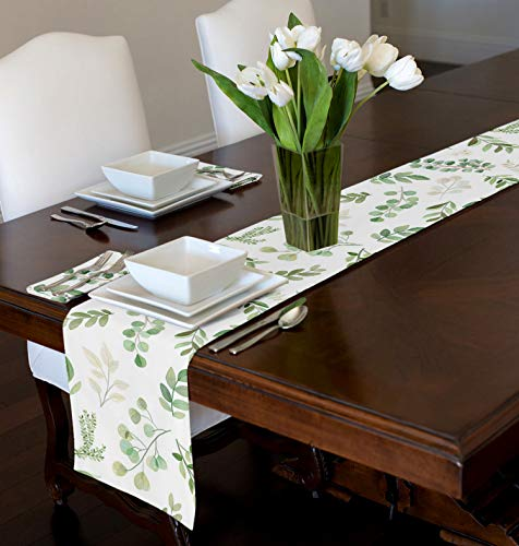 A LuxeHome Green Floral Leaf Boho Botanical Rainforest Watercolor Woodland Tropical Garden Tablerunner for Tabletop Console Dining Room Kitchen 12' x 90'