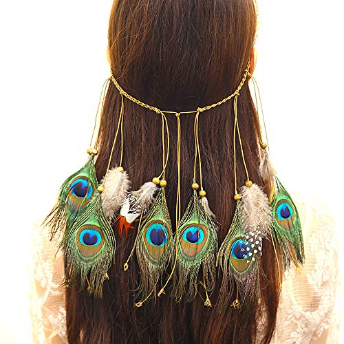 Deniferymakeup Boho Headdress Veer Hoofdband Accessoires Hippie Pauw Veer Elastische Gypsy Festival Hoofdband Indian Fancy Hoofdstukken Headdress Masquerade voor Vrouwen en Meisjes Goud