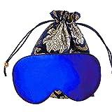 Sleep Eye Mask for Sleeping Blindfold - YANIBEST Adjustable Natural Silk Sleep Mask Blindfold 100% Pure Muberry Silk Eye Mask for Sleep Blue