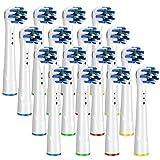 Brightdeal Cabezales de Repuesto para Braun Oral B Cepillo de Dientes Electricos - Repuesto Cabezales Cepillo Compatible con Oral-B Recambios Cepillos de Dientes Eléctrico Cross Clean 16 Unidades