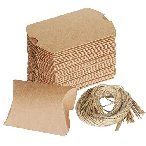 TRIXES 100 Stück Braune, rustikale DIY Geschenkboxen in Kissenform mit Bindfaden als kleines Zeichen der Anerkennung oder Gunstbezeugung/Danksagung bei Hochzeiten und Anderen Gelegenheiten