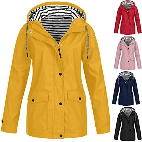 Resistente al viento, chubasquero con capucha para mujer, chaqueta cortavientos, impermeable, transpirable, chaqueta de lluvia con forro a rayas, secado rápido, ciclismo, chaqueta de softshell