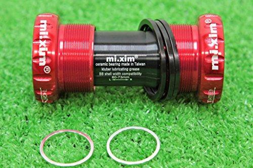 mi.xim セラミックベアリング BB ROAD/MTB兼用 アルミ7075ハウジング ホローテックII・GXP互換 レッド ボトムブラケット