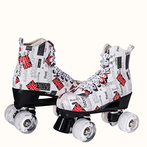 Love your life Roller Skates for Frauen und Girls- Anfänger Quad Roller Skates Weiß UK-Muster (Size : CN 39/US 7.5/UK 5/JP 23.5)