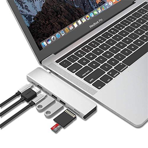 Adaptador USB C Hub Mac USB Tipo C 7-en-1 concentradores multipuerto con USB-C 100W PD, 4K HDMI, Lector de Tarjetas MicroSD/SD, 2xUSB A Compatible con MacBook Pro 2019 2018-2016