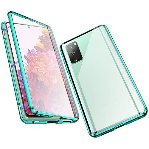 Jonwelsy Hülle für Samsung Galaxy S20 FE 5G, Magnetische Adsorption Metall Stoßstange Flip Cover mit 360 Grad Schutz Doppelte Seiten Transparent Gehärtetes Glas Handyhülle für Samsung S20 (Grün)
