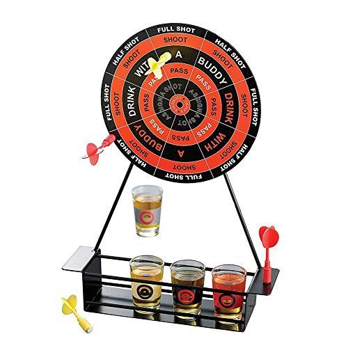 Getherad Mini-darts borrelglazen, set magnetische dranken, met cup, ijzeren frame, wijnglas, spelbooster rekwisieten, 4 magnetische darts en 4 borrelglazen