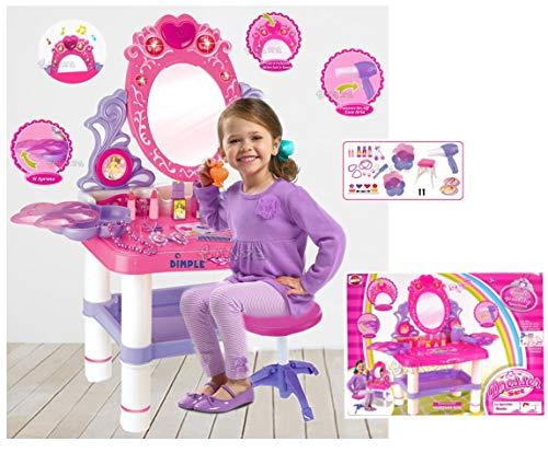 loco by crazy shoes Specchiera Giocattolo per Bambine Specchio con Trousse Trucchi Set Bellezza Gioco con luci e Suoni Sgabello