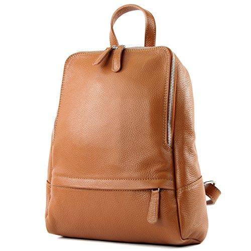 modamoda de - T138 - ital Damen Rucksacktasche aus Leder, Farbe:Cognac