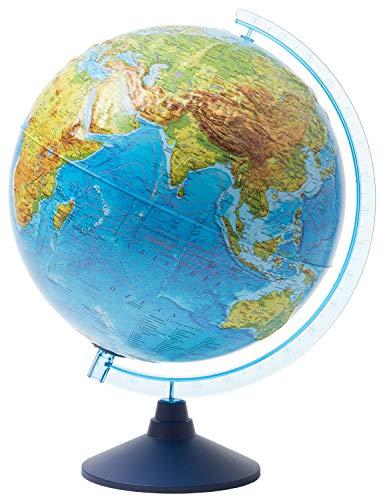 Idena 21426 - Interaktiver Leuchtglobus, mit Relief-Oberfläche, spannende Weltreise mit der IQ Globe-App, ca. 32 cm, mit LED Beleuchtung, batteriebetrieben, physikalisches und politisches Kartenbild