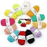 Ovillo de lana de ganchillo colorido para principiantes y niños Set mano 12 piezas clásico sedoso moda