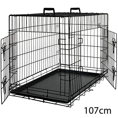 MSmask 107cm HundeKäfig mit 2 Türen, faltbar Tierkäfig, TransportKäfig Gitterbox DrahtKäfig für große Hunde Katzen Hasen Nager Kaninchen Geflügel Gitterbox Hundebox Hundetransportbox Transportbox
