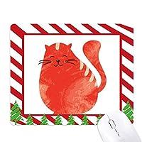 太った猫の動物の水彩画のオレンジ色の笑顔 ゴムクリスマスキャンディマウスパッド