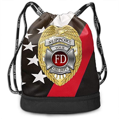 Petrichor Yi ondersteunt uw lokale brandweer dunne rode lijn badge bundel rugzak grappige boodschappentas