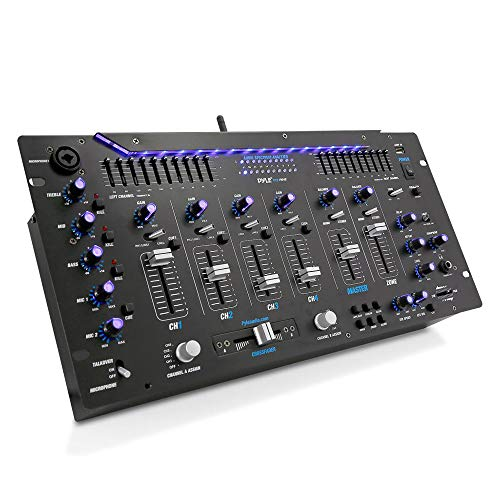 Pyle 6 Channel Mixer, Bluetooth DJ Controller, Stereo Mixer, Professional Sound System, LED Illumination, Mixer Digital Audio, Digital Mixing System, Speed Control, 5U Rack Mount System, PYD1964B.5