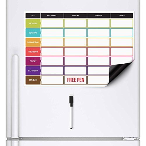 CKB LTD® Meal Diet Planner Food Prep Nutrition Fitness Magnetic Fridge Board With Marker Pen A3 Dry Wipe Magnet Whiteboard Kitchen Weekly Daily Ideal for Planning Family Meals Bodybuilding Dieting