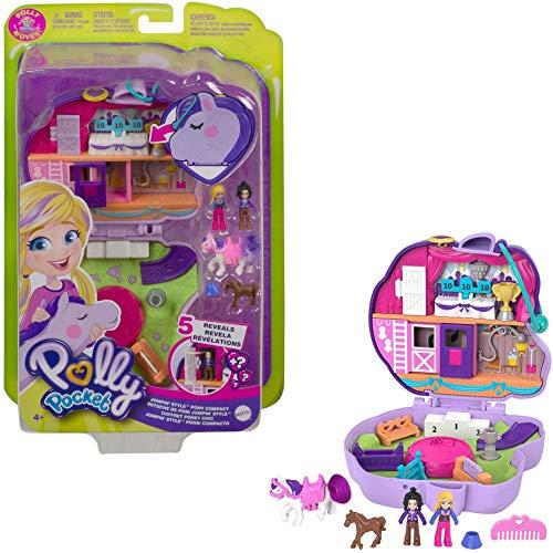 Polly Pocket Cofanetto Maneggio dei cavalli con 2 Micro Bambole, Cavalli e Accessori, Giocattolo per Bambini 4+Anni, GTN14