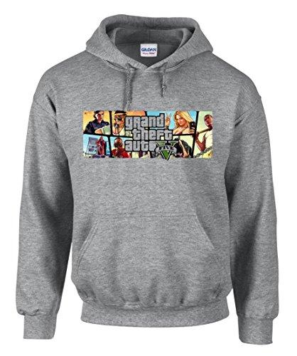 molda18 GTA V GTA 5 Grand Theft Auto 5 Rockstar Jogos Games Grigio Felpa con Cappuccio da Uomo - 3288 (XL)