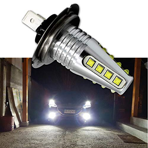 Ruiandsion 2x H7 LED Fog Ampoule DC 12-24 CREE 16SMD LED Chips ampoule de rechange pour voiture Phares antibrouillard Feux de jour Lumière, 6000K Blanc