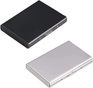 Credit Card Holder Wallet,2 Pieces RFID Blocking Credit Card Case,Stainless Steel Card Case,Business Card Case with 6 Comp...