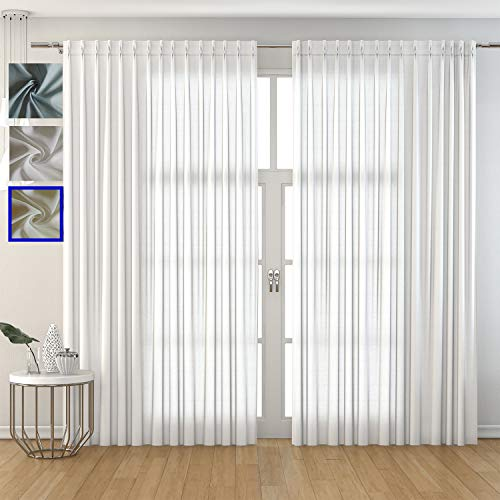 domus&trend Julia - Cortinas para casa de decoración elegantes, fabricadas en Italia, de excelente calidad, fabricadas íntegramente en Italia (blanco natural)